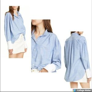 Frame Pleated Blue Contrast Cuffed Button Top NWT
